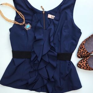 Lola Navy Blue Ruffle V-neck Blouse